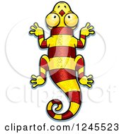 Clipart Of A Striped Red And Yellow Chameleon Lizard Royalty Free Vector Illustration by Cory Thoman