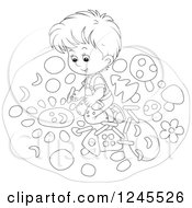 Clipart Of A Black And White Boy Drawing With Chalk On A Sidewalk Royalty Free Vector Illustration