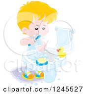 Clipart Of A Blond Caucasian Boy Brushing His Teeth In A Bathroom Royalty Free Vector Illustration