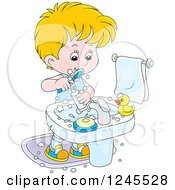Clipart Of A Blond Boy Brushing His Teeth In A Bathroom Royalty Free Vector Illustration by Alex Bannykh