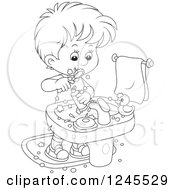 Clipart Of A Black And White Boy Brushing His Teeth In A Bathroom Royalty Free Vector Illustration