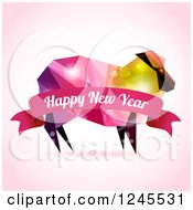 Colorful Geometric Sheep With Flares And A Happy New Year Banner