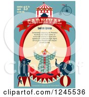 Clipart Of A Circus Clown With Animals Carnival Background With Sample Text Royalty Free Vector Illustration by Eugene