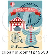 Circus Clown With A Big Top And Ferris Wheel Carnival Background With Sample Text