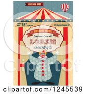 Circus Clown With A Big Top Birthday Party Invite With Sample Text