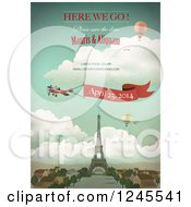 Clipart Of A Paris Wedding Announcement Over The Eiffel Tower Royalty Free Vector Illustration