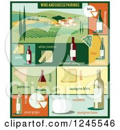 Clipart Of A Vineyard And Wine And Cheese Pairings Royalty Free Vector Illustration