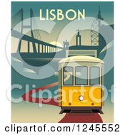 Yellow Electric Tram Of Lisbon Portugal At Sunset