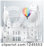 Clipart Of A Colorful Hot Air Balloon Over 3d London Landmark Buildings Royalty Free Vector Illustration