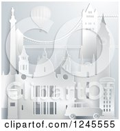 Clipart Of A 3d Hot Air Balloon Over London Landmark Buildings Royalty Free Vector Illustration by Eugene