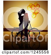 Clipart Of A Silhouetted Couple Kissing By A Bicycle With Balloons At Sunset Royalty Free Vector Illustration by Eugene