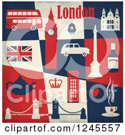 Clipart Of A London Landmarks And Transportation Over Blue Beige And Red Tiles Royalty Free Vector Illustration by Eugene #COLLC1245557-0054