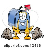 Blue Postal Mailbox Cartoon Character Lifting A Heavy Barbell