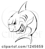 Clipart Of A Black And White Aggressive Shark Sports Mascot Royalty Free Vector Illustration by AtStockIllustration