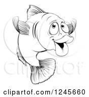 Clipart Of A Black And White Happy Cod Fish Gesturing To Come Royalty Free Vector Illustration