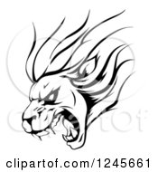 Clipart Of A Black And White Aggressive Roaring Lion Sports Mascot Royalty Free Vector Illustration by AtStockIllustration