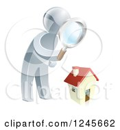 Clipart Of A 3d Silver Man House Hunting Royalty Free Vector Illustration