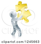 Clipart Of A 3d Silver Man Holding A Golden Puzzle Piece Royalty Free Vector Illustration