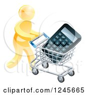 Clipart Of A 3d Gold Man Pushing A Calculator In A Shopping Cart Royalty Free Vector Illustration by AtStockIllustration