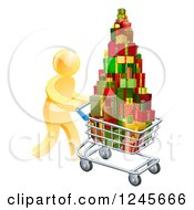 Clipart Of A 3d Gold Man Pushing A Shopping Cart Full Of Presents Royalty Free Vector Illustration