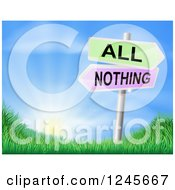 Clipart Of 3d All Or Nothing Arrow Signs Over Hills And A Sunrise Royalty Free Vector Illustration