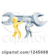 Clipart Of A 3d Gold And Silver Men Carrying A Giant Adjustable Wrench Royalty Free Vector Illustration