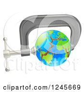 Clipart Of A 3d Cracking Earth In A Tight Clamp Royalty Free Vector Illustration