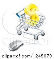 Clipart Of A 3d Gold Dollar Symbol In A Shopping Cart With A Computer Mouse Royalty Free Vector Illustration