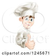 Clipart Of A Happy Young Chef Holding A Thumb Up Around A Menu Or Sign Board Royalty Free Vector Illustration