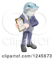 Clipart Of A Shark Businessman Pointing To A Contract Royalty Free Vector Illustration by AtStockIllustration