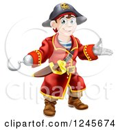 Clipart Of A Happy Pirate Captain With A Hook Hand Royalty Free Vector Illustration