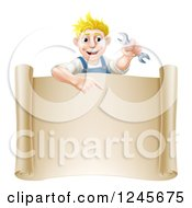 Clipart Of A Happy Blond Mechanic Man Holding A Spanner Wrench Over A Scroll Sign Royalty Free Vector Illustration