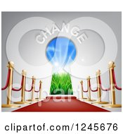 Clipart Of A Red Carpet And Posts Leading To A CHANGE Key Hole Royalty Free Vector Illustration by AtStockIllustration