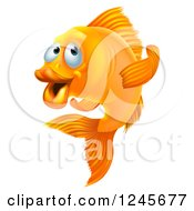 Clipart Of A Goldfish Gesturing To Follow Royalty Free Vector Illustration