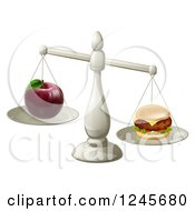 Clipart Of An Imbalanced Scale With An Apple And Cheeseburger Royalty Free Vector Illustration