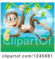 Jungle Monkey With A Banana Swinging On A Vine Over A Jungle Landscape