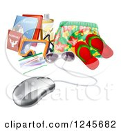 Clipart Of A 3d Computer Mouse Wired To Travel Items Royalty Free Vector Illustration by AtStockIllustration