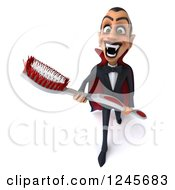 Clipart Of A 3d Dracula Vampire Carrying A Giant Toothbrush 2 Royalty Free Illustration
