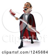 Clipart Of A 3d Dracula Vampire Carrying A Giant Toothbrush 3 Royalty Free Illustration