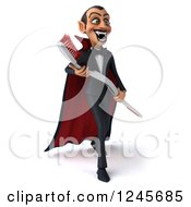 Clipart Of A 3d Dracula Vampire Carrying A Giant Toothbrush Royalty Free Illustration