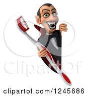 Clipart Of A 3d Dracula Vampire With A Giant Toothbrush Around A Sign Royalty Free Illustration