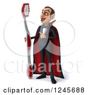 Clipart Of A 3d Dracula Vampire With A Giant Toothbrush Royalty Free Illustration