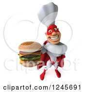 3d Male Super Chef Holding Up A Double Cheeseburger