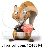 3d Bespectacled Business Squirrel Holding A Piggy Bank