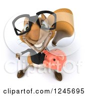 Clipart Of A 3d Bespectacled Business Squirrel Holding A Thumb Down And Piggy Bank Royalty Free Illustration