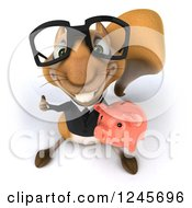 Clipart Of A 3d Bespectacled Business Squirrel Holding A Thumb Up And Piggy Bank Royalty Free Illustration