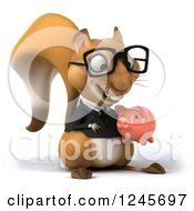 Clipart Of A 3d Bespectacled Business Squirrel Holding A Piggy Bank Royalty Free Illustration