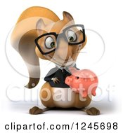 Clipart Of A 3d Bespectacled Business Squirrel Holding And Looking Down At A Piggy Bank Royalty Free Illustration