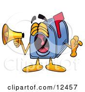 Clipart Picture Of A Blue Postal Mailbox Cartoon Character Screaming Into A Megaphone