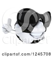 Clipart Of A 3d Soccer Ball Character Wearing Shades And Giving A Thumb Up Royalty Free Illustration